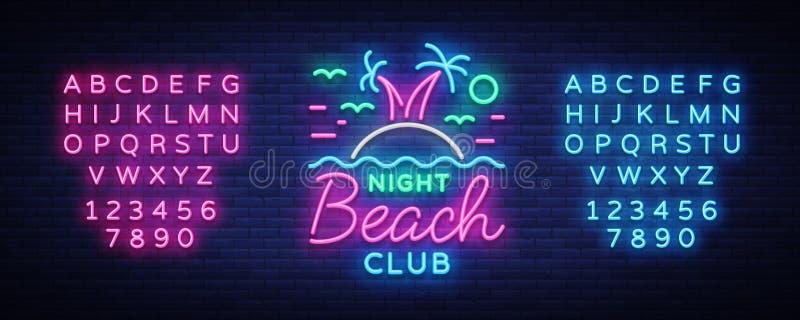 Señal de neón del club nocturno de la playa Logotipo en el estilo de neón, símbolo, plantilla para el club nocturno, publicidad d libre illustration