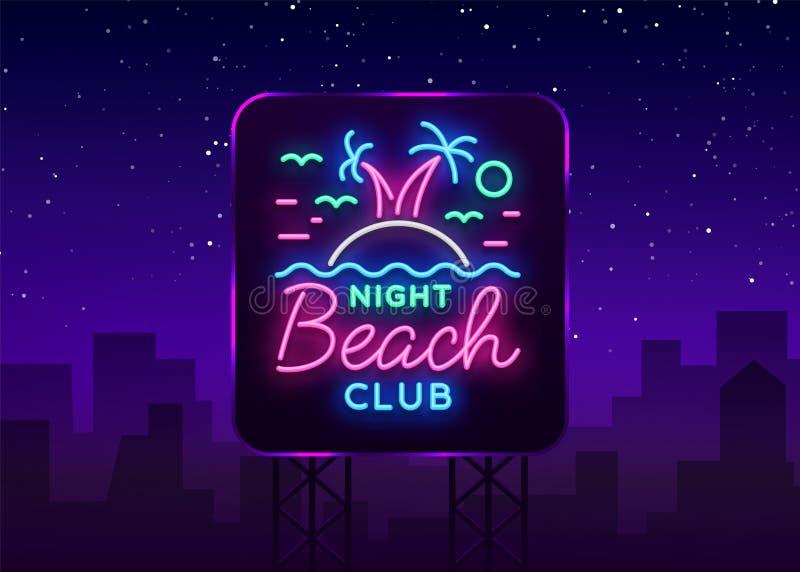 Señal de neón del club nocturno de la playa Logotipo en el estilo de neón, símbolo, plantilla para el club nocturno, publicidad d stock de ilustración