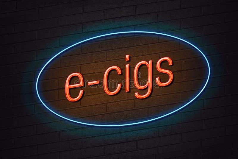 señal de neón del concepto del E-cigarrillo stock de ilustración