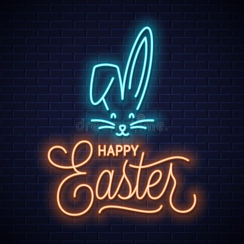 Señal de neón del conejito de pascua Oídos de neón del conejo de Pascua stock de ilustración