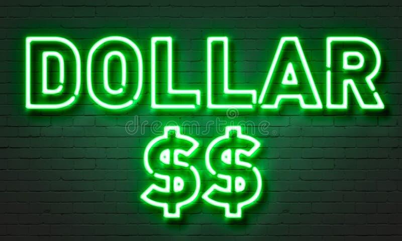 Señal de neón del dólar en fondo de la pared de ladrillo ilustración del vector
