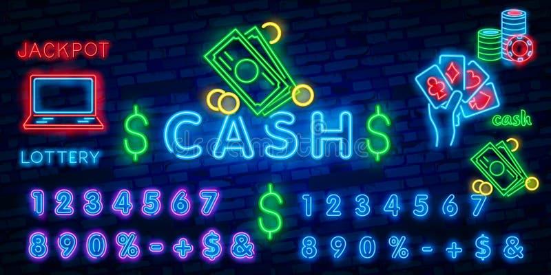 Señal de neón del efectivo Concepto del dinero, de las finanzas y de la moneda Diseño del anuncio Señal de neón brillante de la n libre illustration