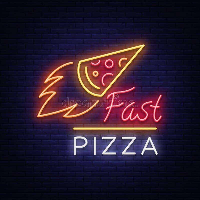 Señal de neón del emblema del logotipo de la pizza Logotipo en el estilo de neón, señal de neón brillante con la promoción italia libre illustration