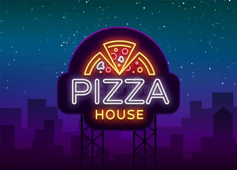 Señal de neón del emblema del logotipo de la pizza Logotipo en el estilo de neón, señal de neón brillante con la promoción italia stock de ilustración