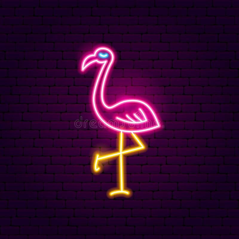 Señal de neón del flamenco stock de ilustración
