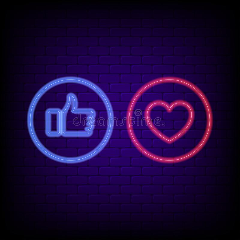 Señal de neón del gusto y del corazón Pulgares azules de neón brillantes para arriba y corazón rojo, bandera de la noche del conc libre illustration