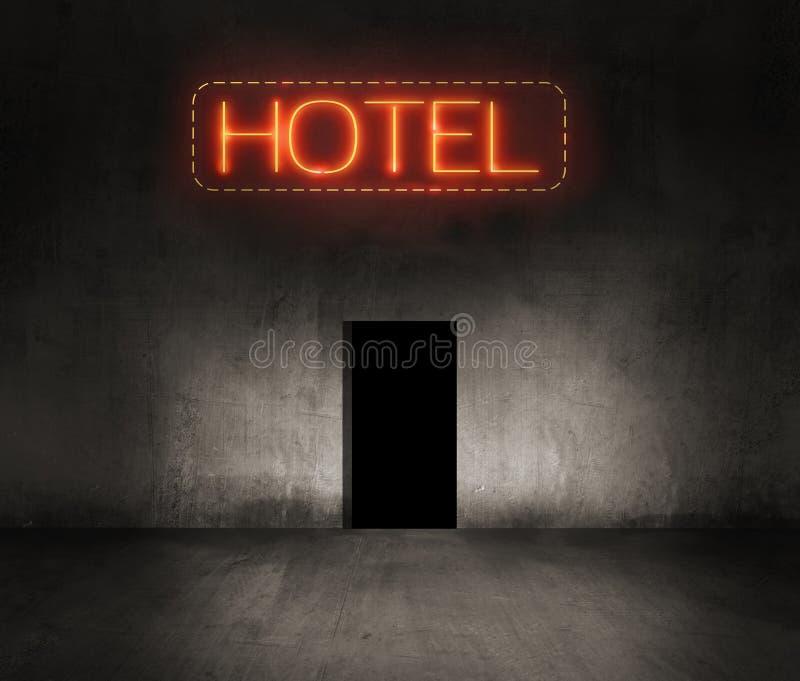 Señal de neón del hotel en la noche ilustración del vector