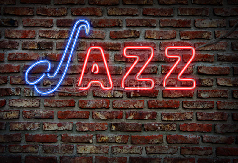 Señal de neón del jazz fotos de archivo