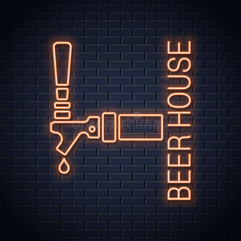 Señal de neón del logotipo del golpecito de la cerveza Icono de neón de la casa de la cerveza en fondo de la pared libre illustration