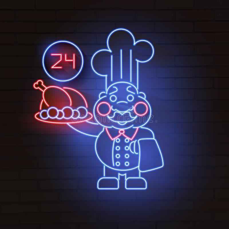 Señal de neón del maestro cocinero, letrero brillante Logotipo del cocinero ilustración del vector