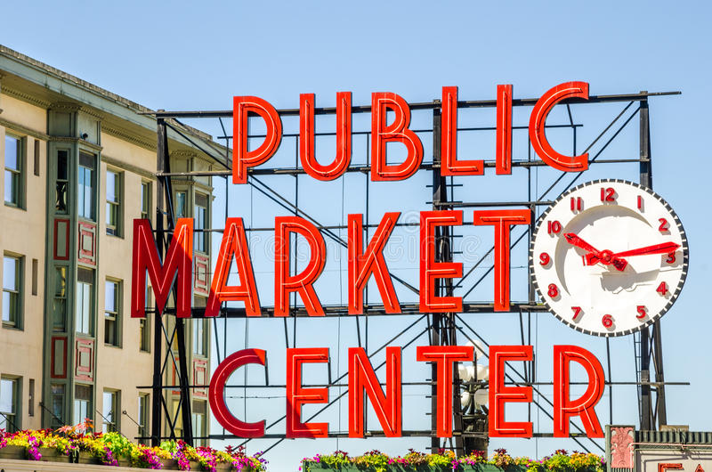 Señal de neón del mercado de lugar de Pike fotos de archivo libres de regalías