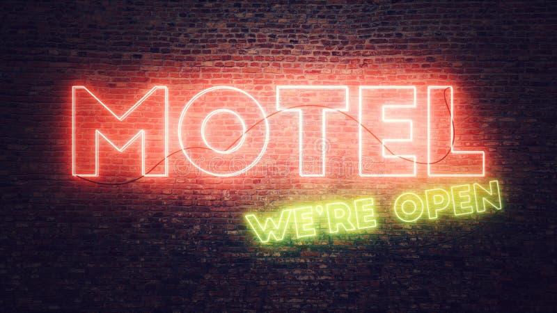 Señal de neón del motel montada en la pared de ladrillo stock de ilustración