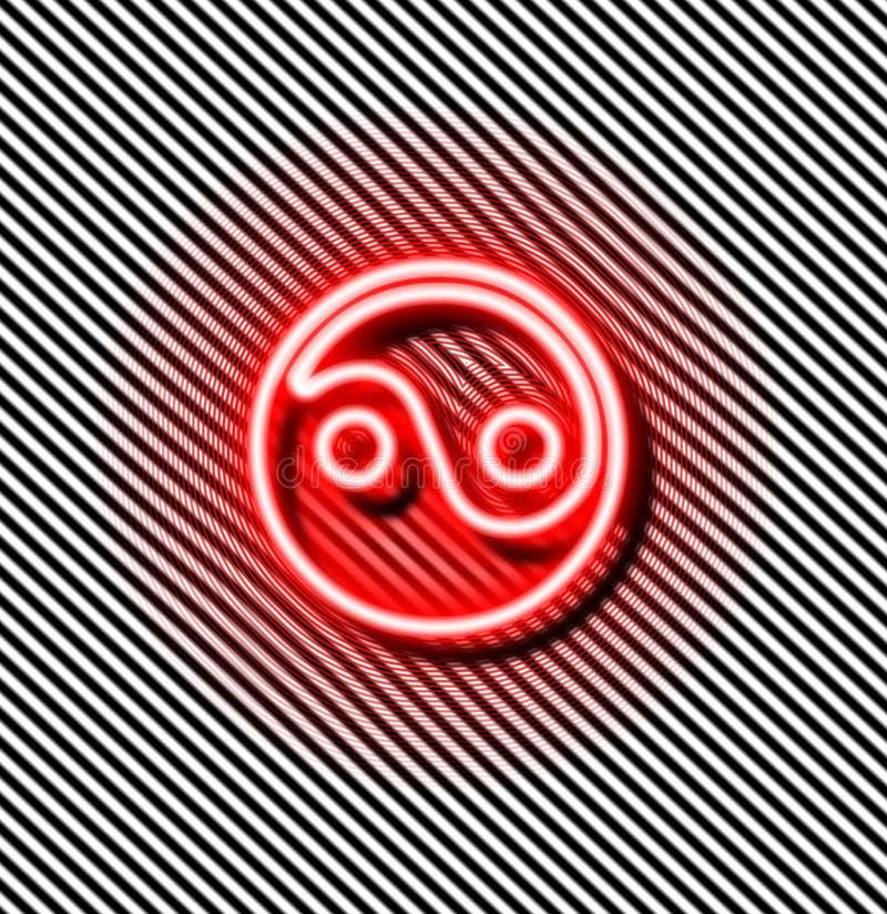 Señal de neón del rojo de Yin yang stock de ilustración