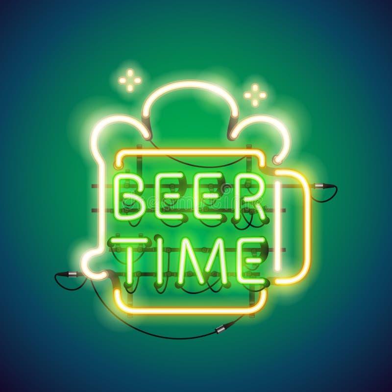 Señal de neón del tiempo de la cerveza ilustración del vector