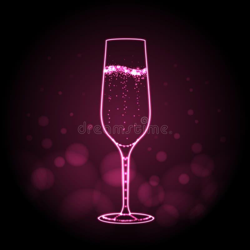 Señal de neón del vidrio del champage en fondo rosado stock de ilustración