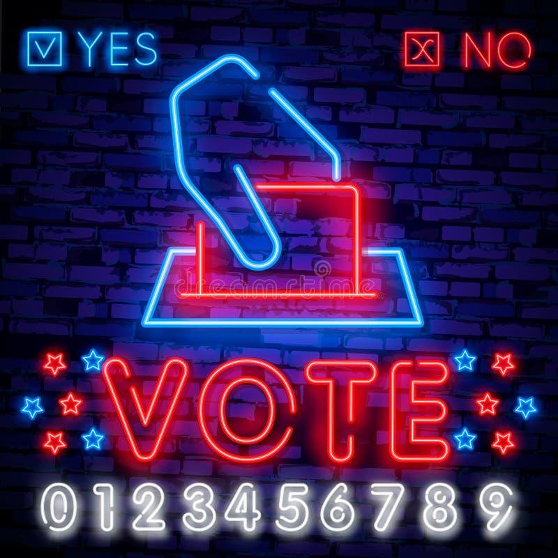 Señal de neón del voto Señal de neón de la plantilla del diseño de la elección, bandera ligera, letrero de neón, publicidad brill stock de ilustración