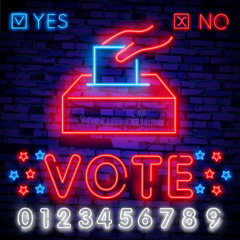 Señal de neón del voto Señal de neón de la plantilla del diseño de la elección, bandera ligera, letrero de neón, publicidad brill ilustración del vector