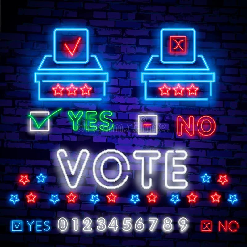 Señal de neón del voto Señal de neón de la plantilla del diseño de la elección, bandera ligera, letrero de neón, publicidad brill libre illustration