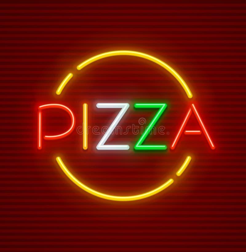 Señal de neón de la pizza con la comida del italiano de la iluminación libre illustration