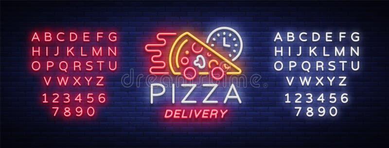 Señal de neón de la pizza de la entrega Logotipo en el estilo de neón, bandera ligera, símbolo luminoso, entrega de neón de la co ilustración del vector
