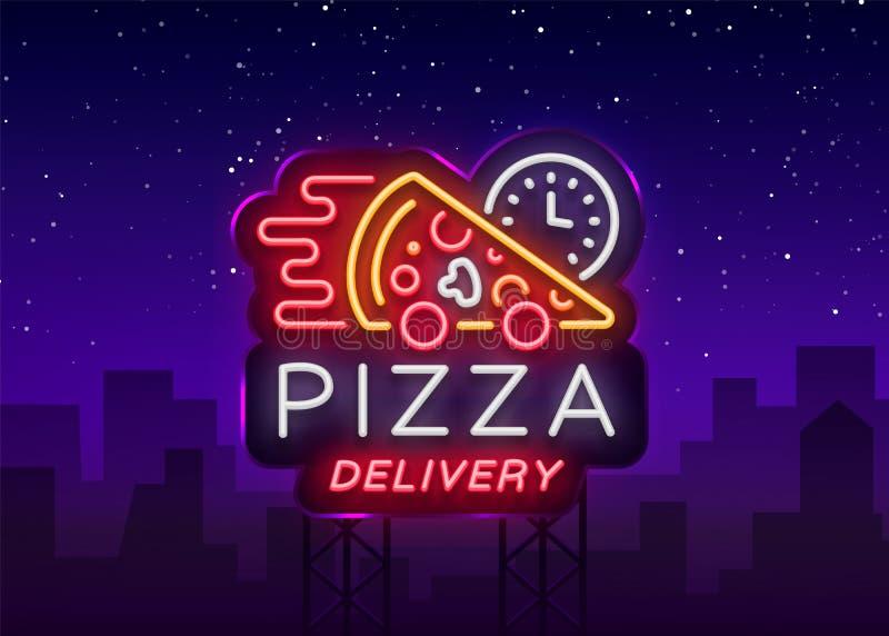 Señal de neón de la pizza de la entrega Logotipo en el estilo de neón, bandera ligera, símbolo luminoso, entrega de neón de la co stock de ilustración
