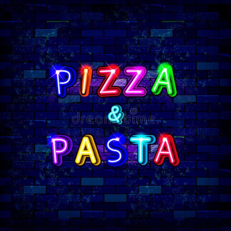 Señal de neón de la pizza y de las pastas libre illustration