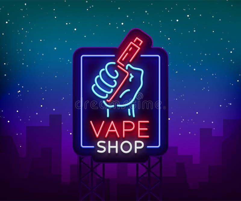 Señal de neón de la tienda de Vape, cartelera Ilustración del vector Señal de neón, una bandera que brilla intensamente de la noc libre illustration