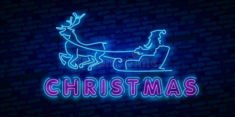 Señal de neón de los ciervos Partido de la noche Feliz Navidad feliz Señal de neón, letrero brillante, bandera ligera stock de ilustración