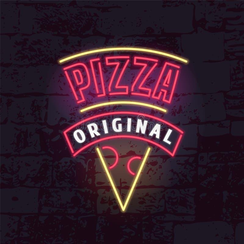 Señal de neón para el logotipo del vector del restaurante de la pizza, icono stock de ilustración