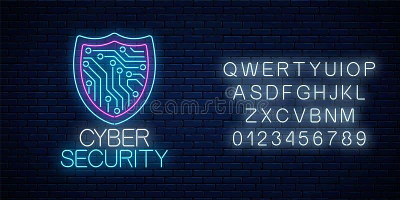 Señal de neón que brilla intensamente de la seguridad cibernética con alfabeto S?mbolo de la protecci?n de Internet con el escudo stock de ilustración