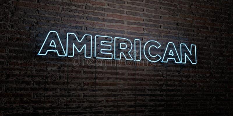- Señal de neón realista en fondo de la pared de ladrillo - 3D AMERICANO rindió imagen común libre de los derechos stock de ilustración