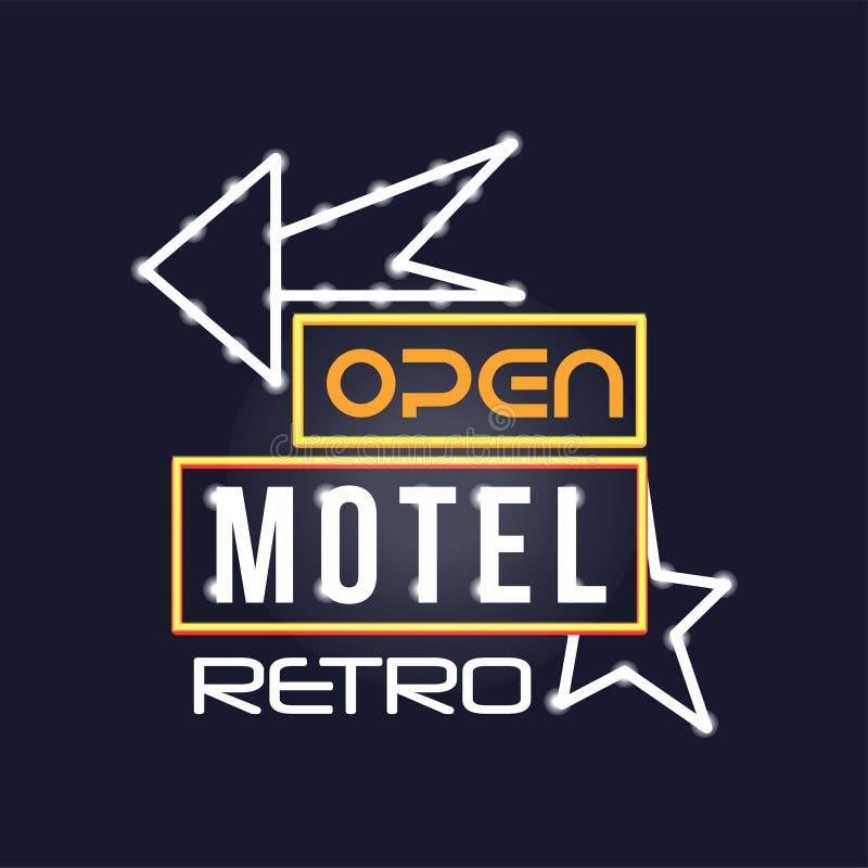 Señal de neón retra del motel, letrero que brilla intensamente brillante del vintage, ejemplo ligero del vector de la bandera ilustración del vector