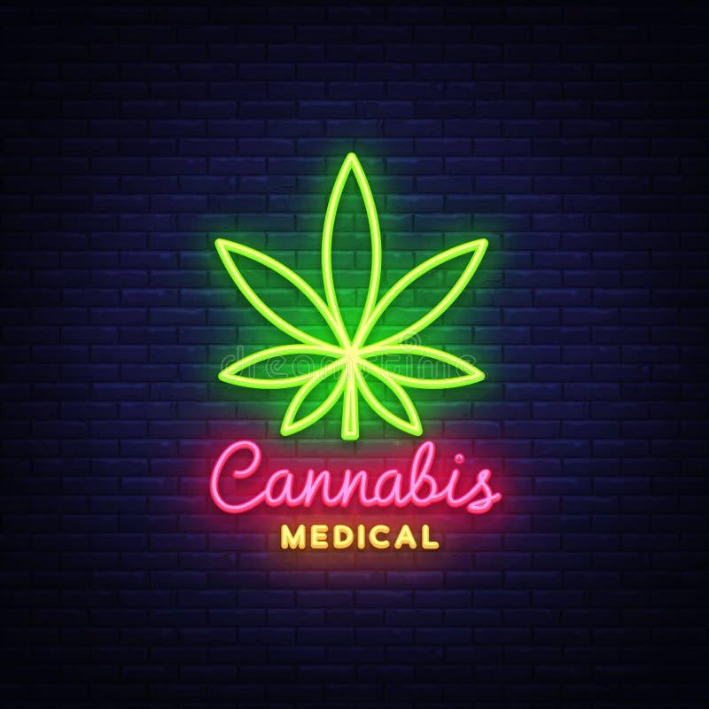 Señal de neón y logotipo médicos, plantilla gráfica de la marijuana en estilo moderno de la tendencia El cáñamo es un cáñamo orgá ilustración del vector