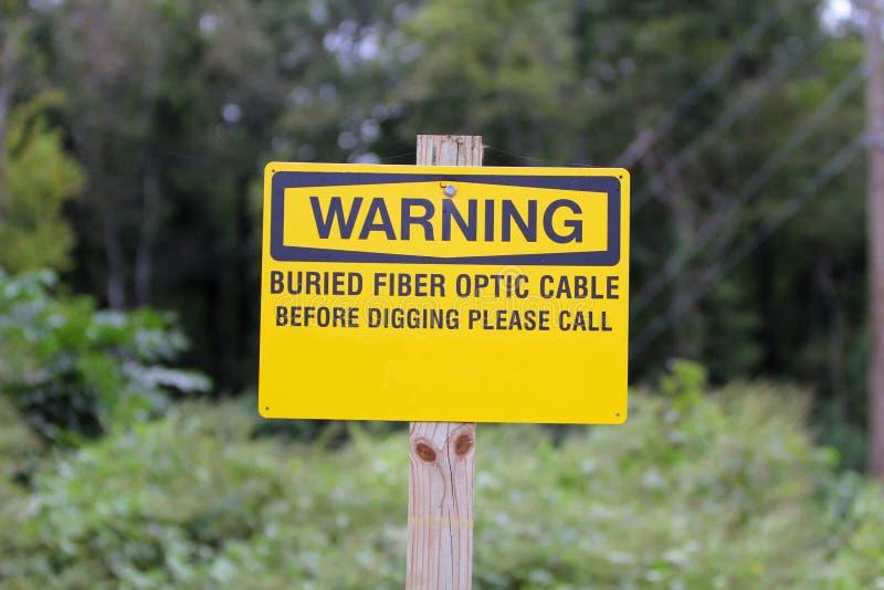 Señal de peligro óptica de fibra fotografía de archivo libre de regalías
