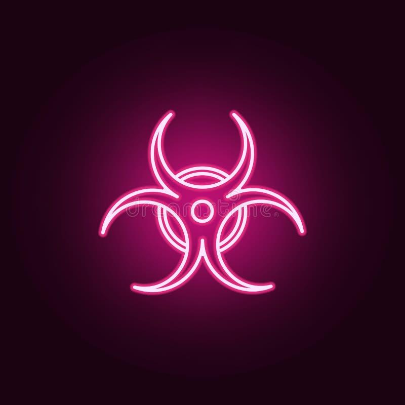 Señal de peligro biológica del peligro del Biohazard o icono de neón del símbolo Elementos del sistema de Sciense Icono simple pa stock de ilustración
