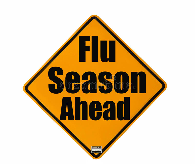 Señal de peligro de la estación de gripe foto de archivo