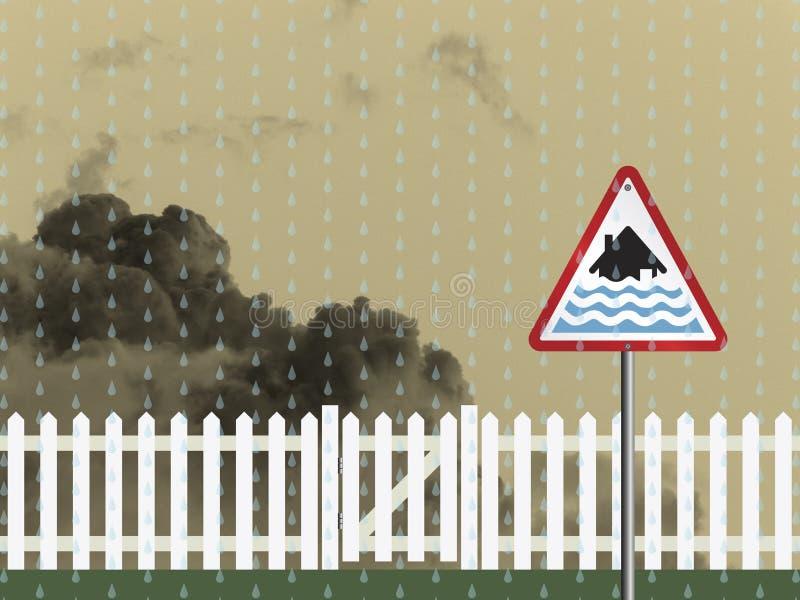 Señal de peligro de la inundación imagen de archivo libre de regalías
