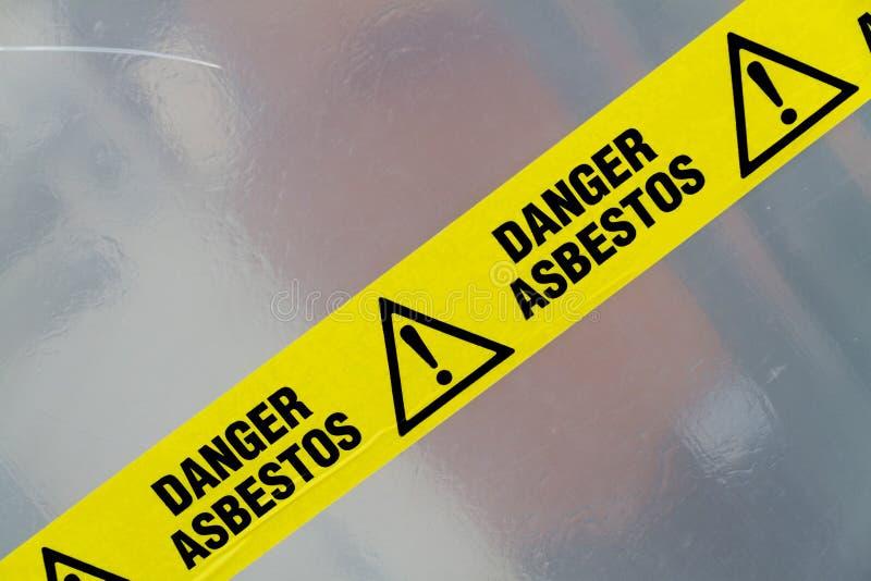 Señal de peligro del asbesto imagen de archivo
