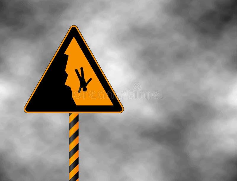 Señal de peligro del borde del acantilado del peligro Peligro señal adentro las montañas para los esquiadores y los snowboarders  stock de ilustración