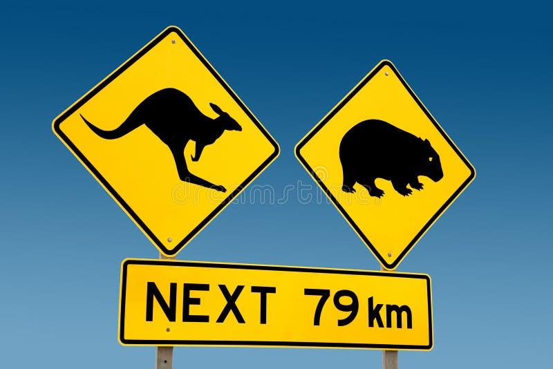 Señal de peligro del canguro y del wombat Australia imágenes de archivo libres de regalías