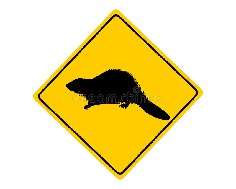 Señal de peligro del castor stock de ilustración