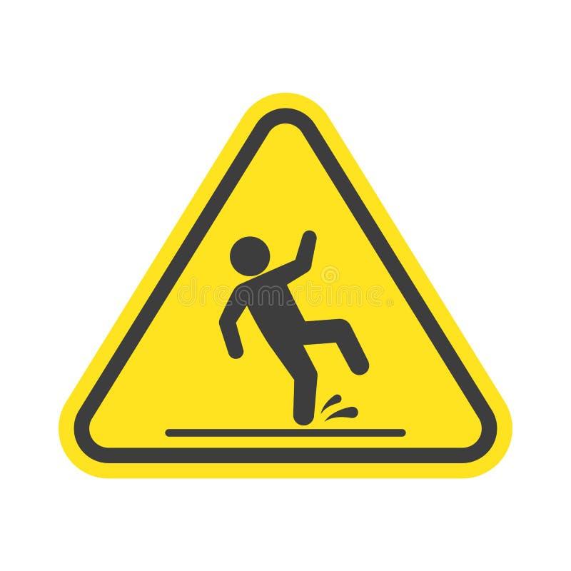 Señal de peligro mojada del piso ilustración del vector