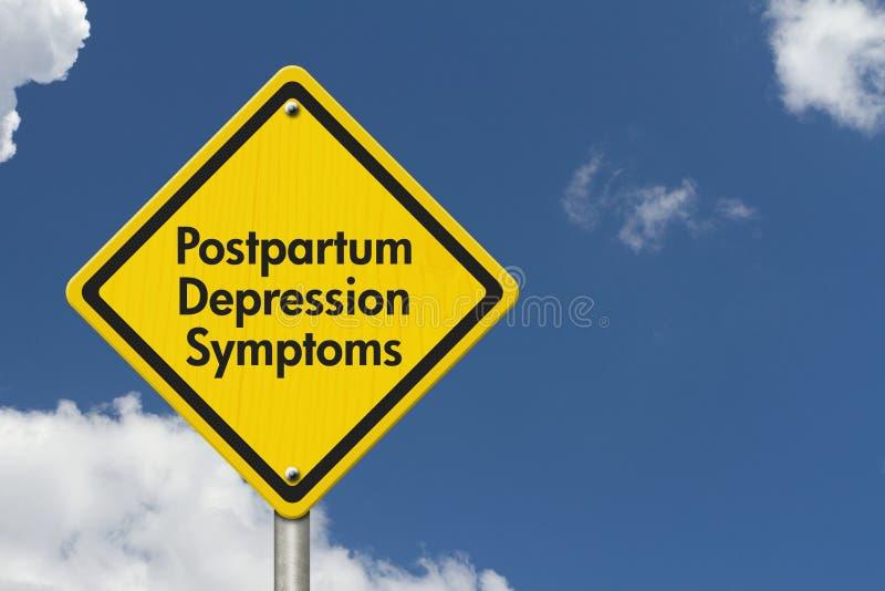 Señal de peligro postparto de los síntomas de la depresión imagenes de archivo