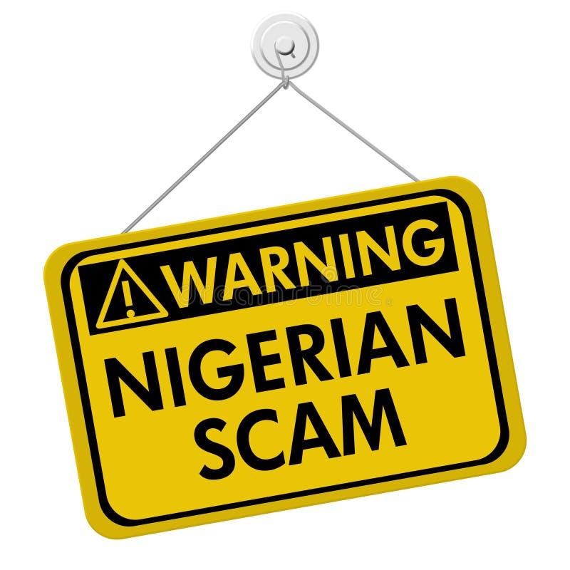 Señal de peligro de Scam del Nigerian stock de ilustración