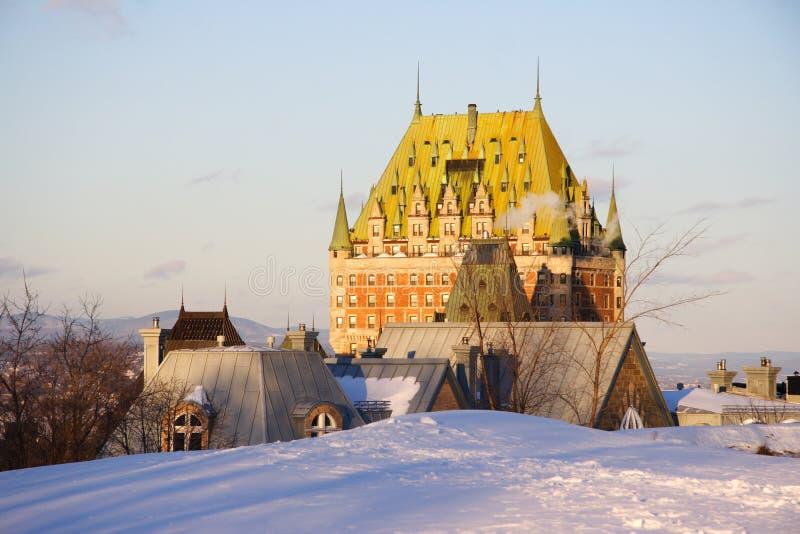 Señal de Quebec City, castillo francés Frontenac imágenes de archivo libres de regalías