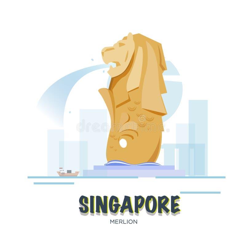 Señal de Singapur La ANSA fijada - stock de ilustración