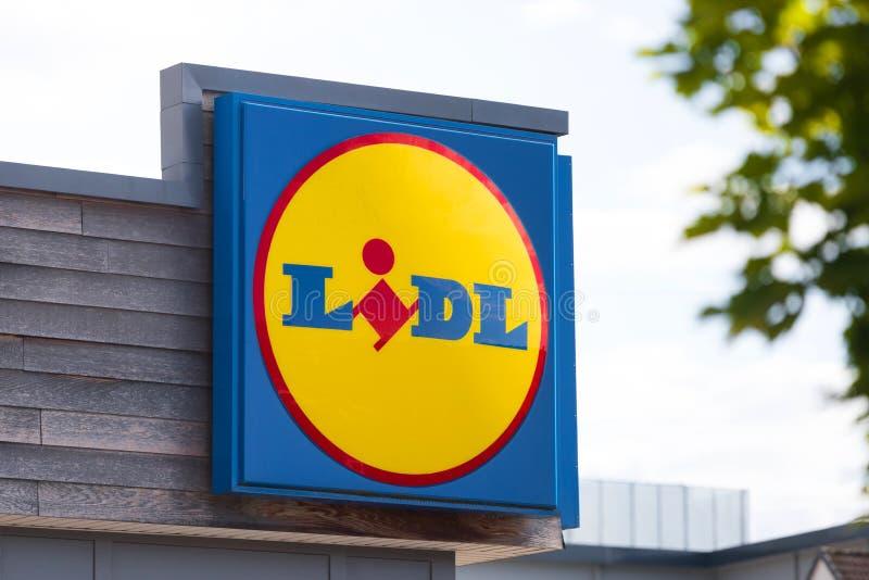 Señal de supermercado de lodo en Alemania de cáñamo imágenes de archivo libres de regalías