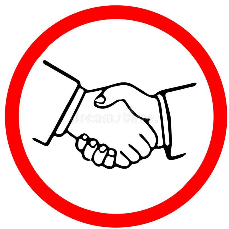 Señal de tráfico amonestadora del círculo de la precaución del concepto del acuerdo del apretón de manos aislada en el fondo blan ilustración del vector