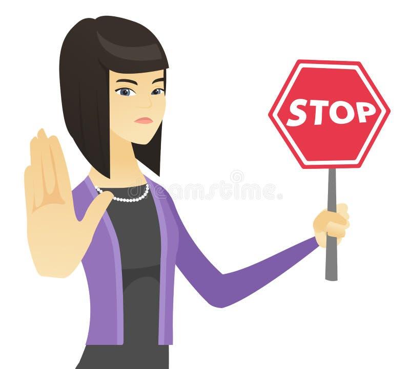 Señal de tráfico asiática de la parada de la tenencia de la mujer de negocios stock de ilustración
