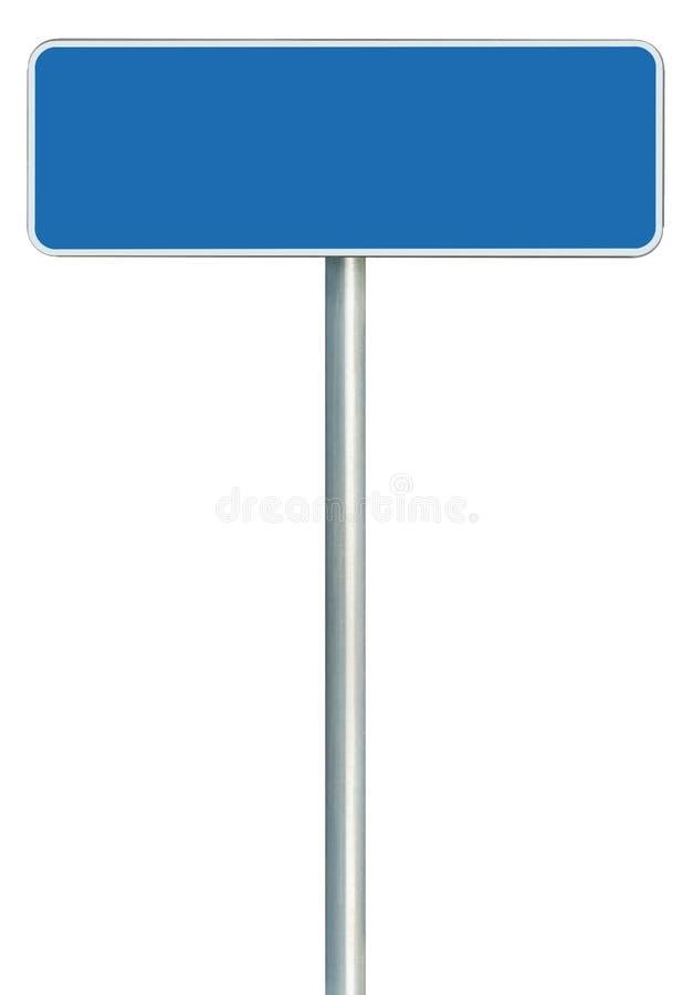 Señal de tráfico azul en blanco aislada, letrero enmarcado marco blanco grande del borde de la carretera foto de archivo libre de regalías